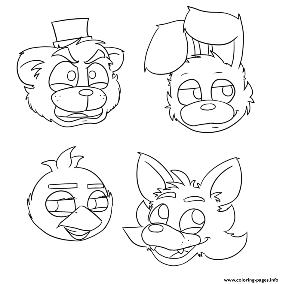 fnaf bonnie foxy mangle coloring pages printable