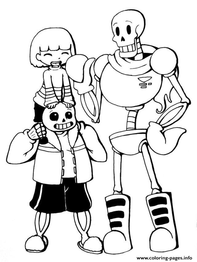 undertale trio frisk sans and papyrus by chiherah coloring pages printable