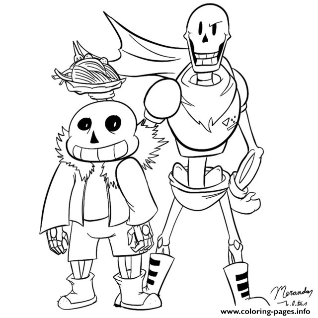 Sans And Papyrus By Dragonfire1000 Coloring Pages Printable