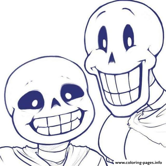 Sans And Papyrus Undertale Coloring Pages Printable