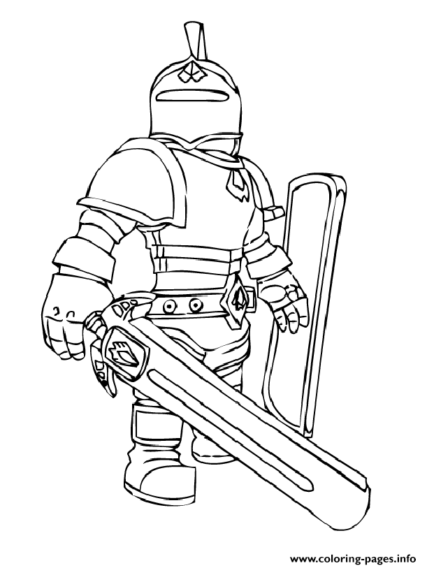 roblox knight coloring pages printable
