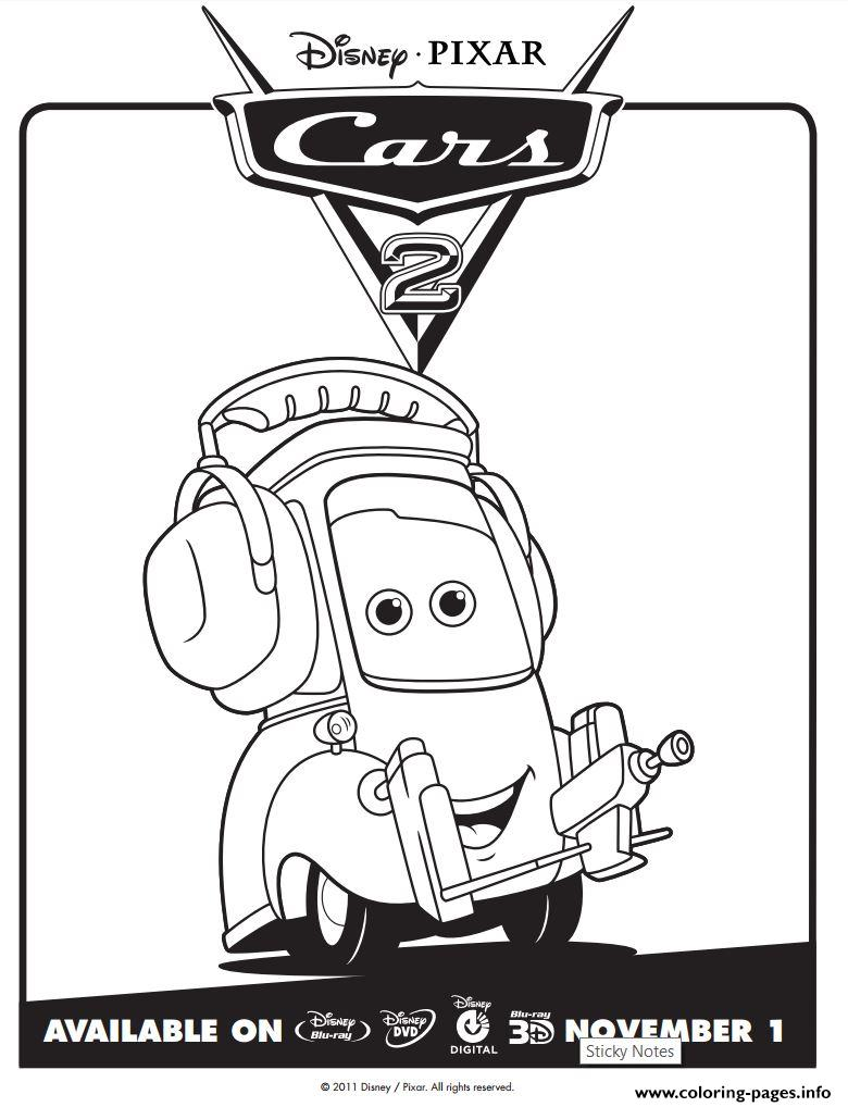 Cars 2 Movie Not Chuck Disney Coloring Pages