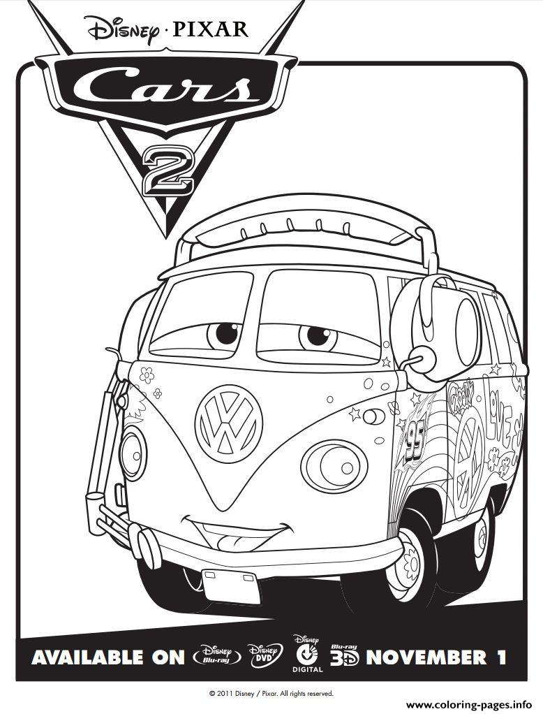 disney cars 2 fillmore coloring pages printable - Cars 2 Coloring Pages To Print