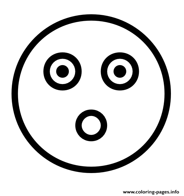 Flashed Emoji Face Outline coloring pages