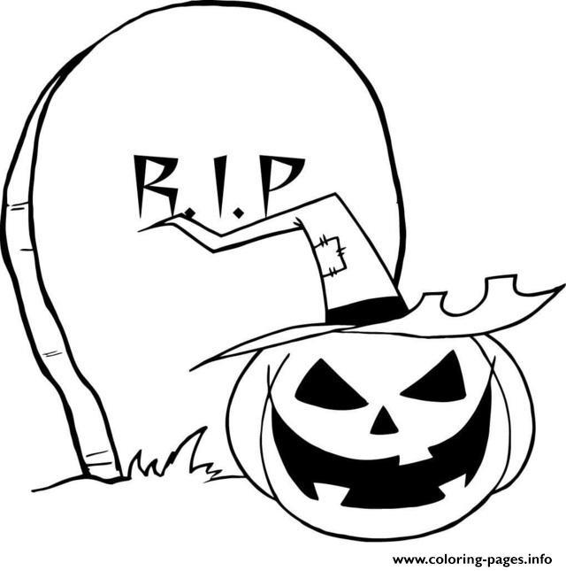 rip gravestone pumpkin halloween coloring pages printable