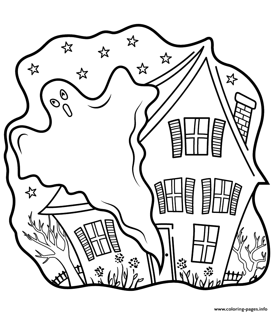 - Haunted Houses With Ghost Halloween Coloring Pages Printable