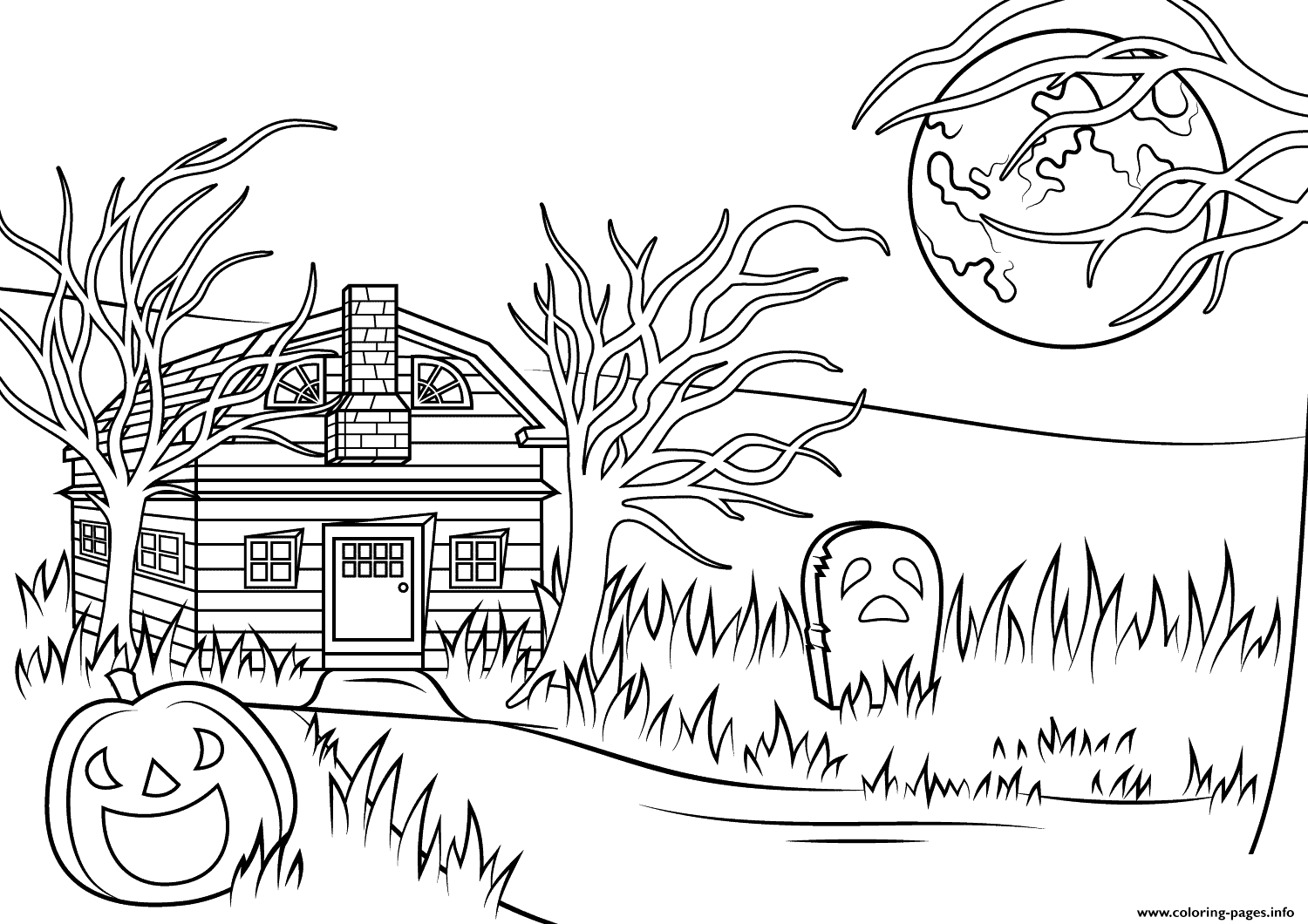 Haunted House Halloween Coloring Pages Printable