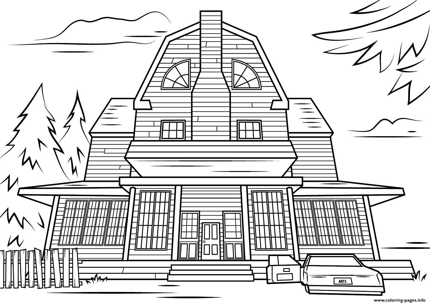 Scary haunted house halloween coloring pages printable for Coloring pages of haunted houses