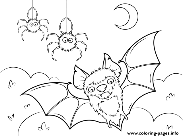 Bat And Spiders Halloween Coloring Pages Printable