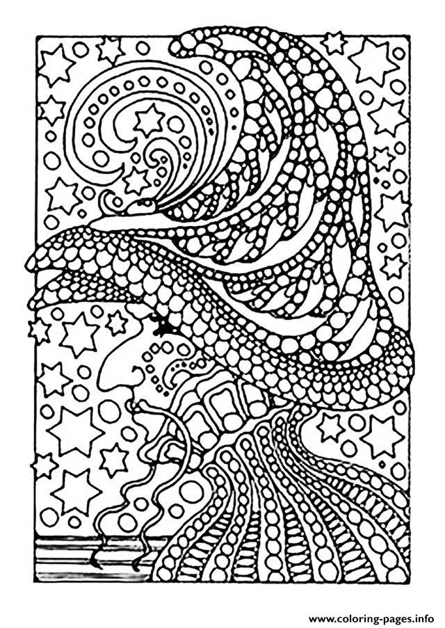 Adult Halloween Witch And Stars coloring pages