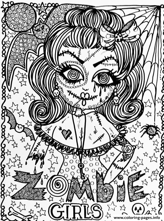 Adult Halloween Zombie Girl Coloring Pages Printable