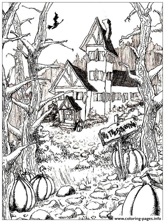 Halloween Adult Haunted House And Pumpkins Coloring Pages Printable
