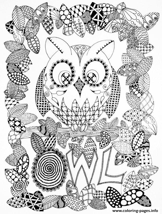Adult Halloween Zentangle Owl Coloring Pages