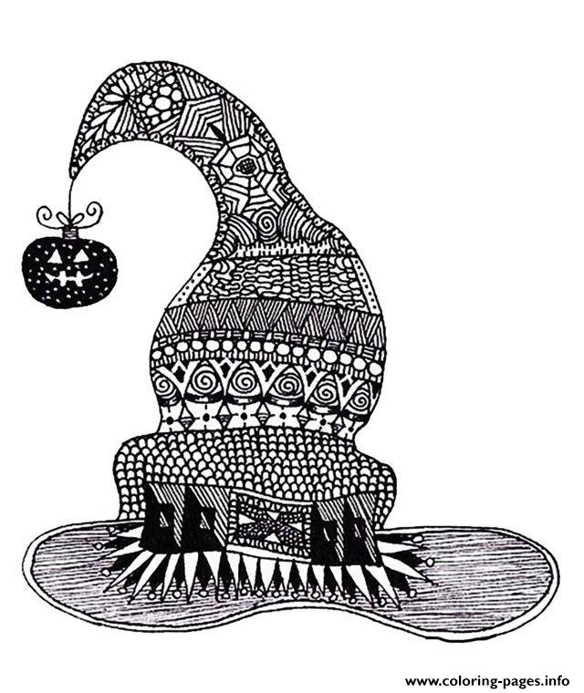 Adult Halloween Zentangle Witch Hat coloring pages