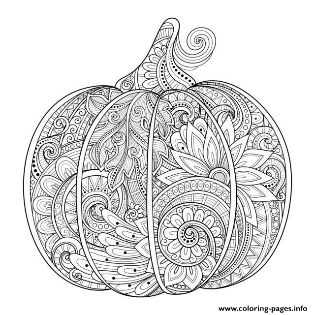 Beautiful Halloween Adult Pumpkin Zentangle Coloring Pages Printable