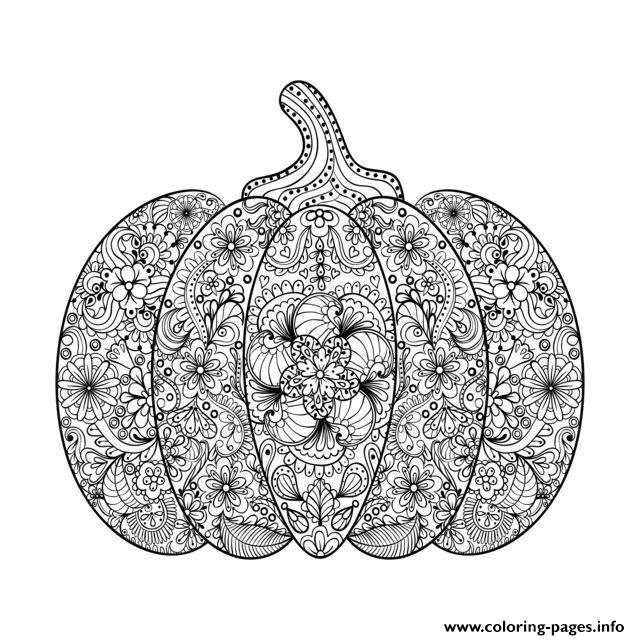 Halloween Adult Complex Pumpkin With Flowers coloring pages