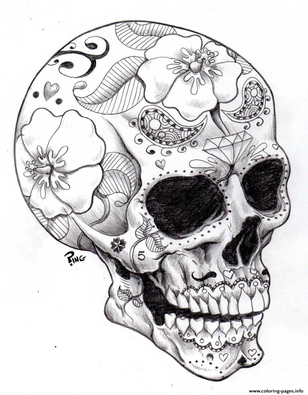 Adult Halloween Sugar Skull 2 Coloring Pages Print Download