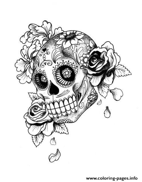 Adult Halloween Sugar Skull coloring pages