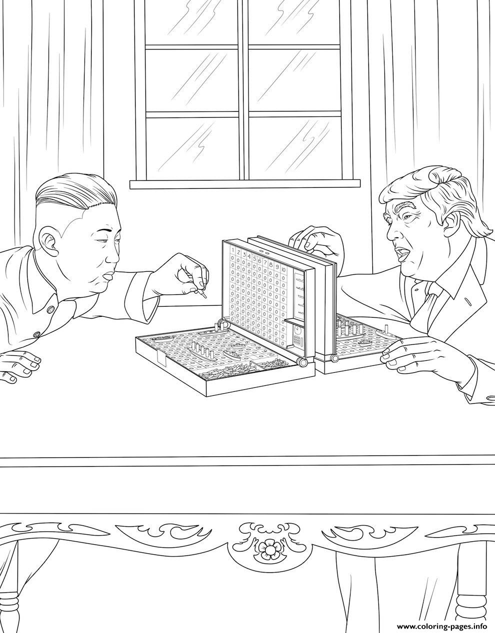 Donald Trump With Corea President coloring pages