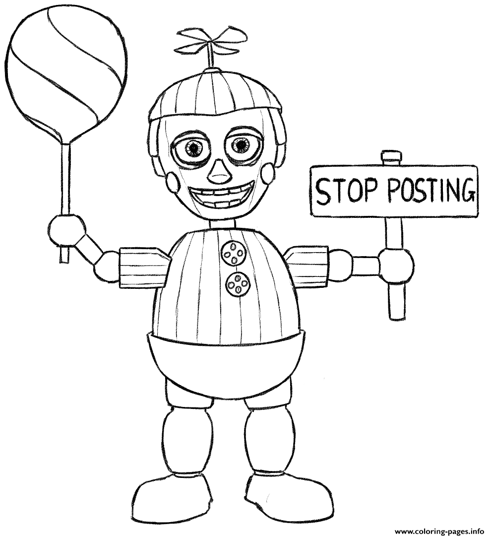 1 Balloon Boy Phantom Five Nights At Freddys Fnaf Colouring Book To Free Birthday Coloring Pages