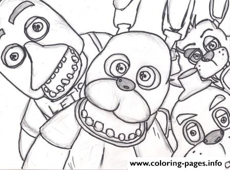Family Five Nights At Freddys Fnaf 2 Coloring Pages Printable