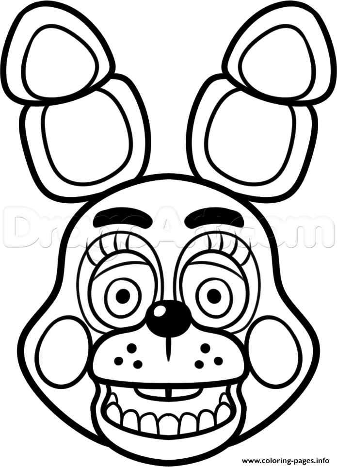 mangle golden freddy face fnaf coloring pages printable