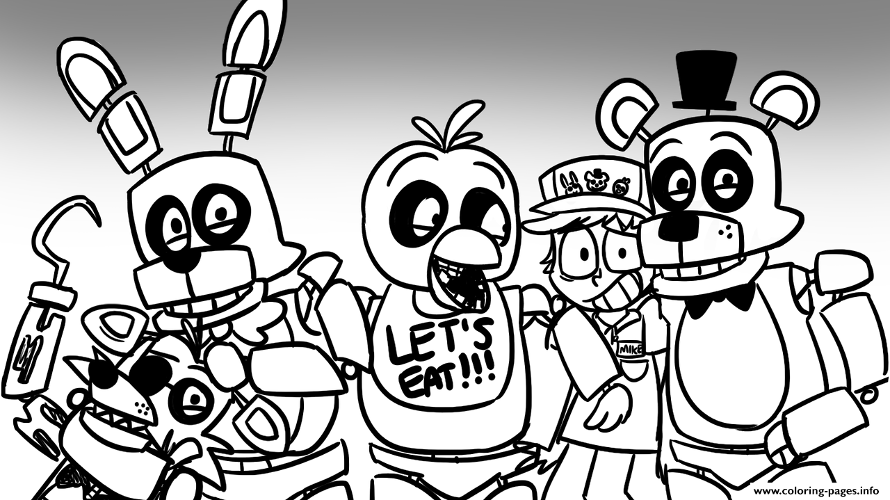 freddy s at five nights fnaf lets eat coloring pages printable