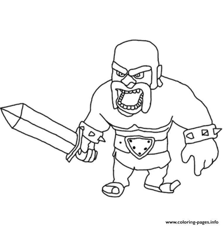 Barbarian King 3 Clash Of Clans Coloring Pages Printable