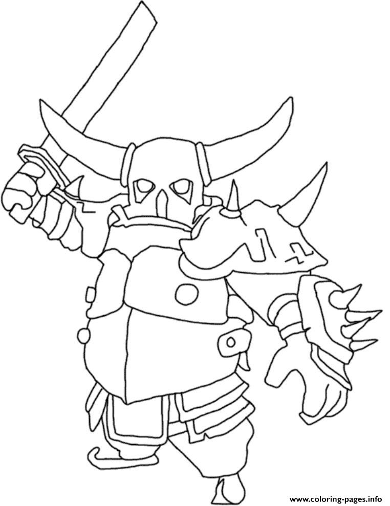 Electro Wizard Clash Royale Kleurplaat Pekka Attack Mode Clash Of Clans Coloring Pages Printable
