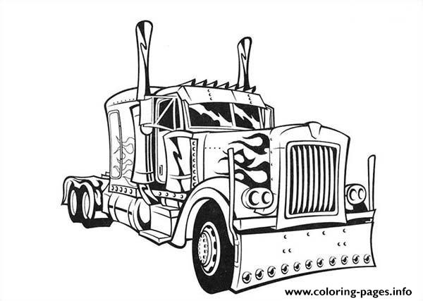Transformers Optimus Prime Truck Coloring Pages Printable