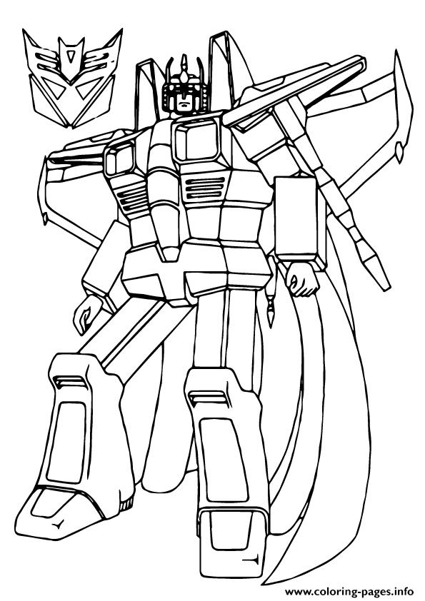 Transformers star scream a4 coloring pages printable for Starscream coloring page