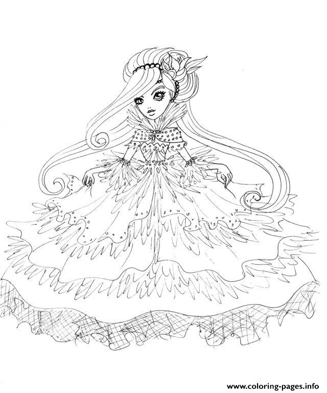 Duchessswan Ever After High Doll Coloring Pages Printable
