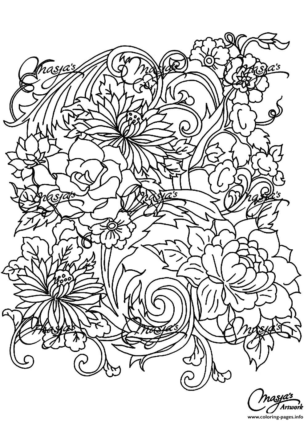 Adult Drawing Flower coloring pages