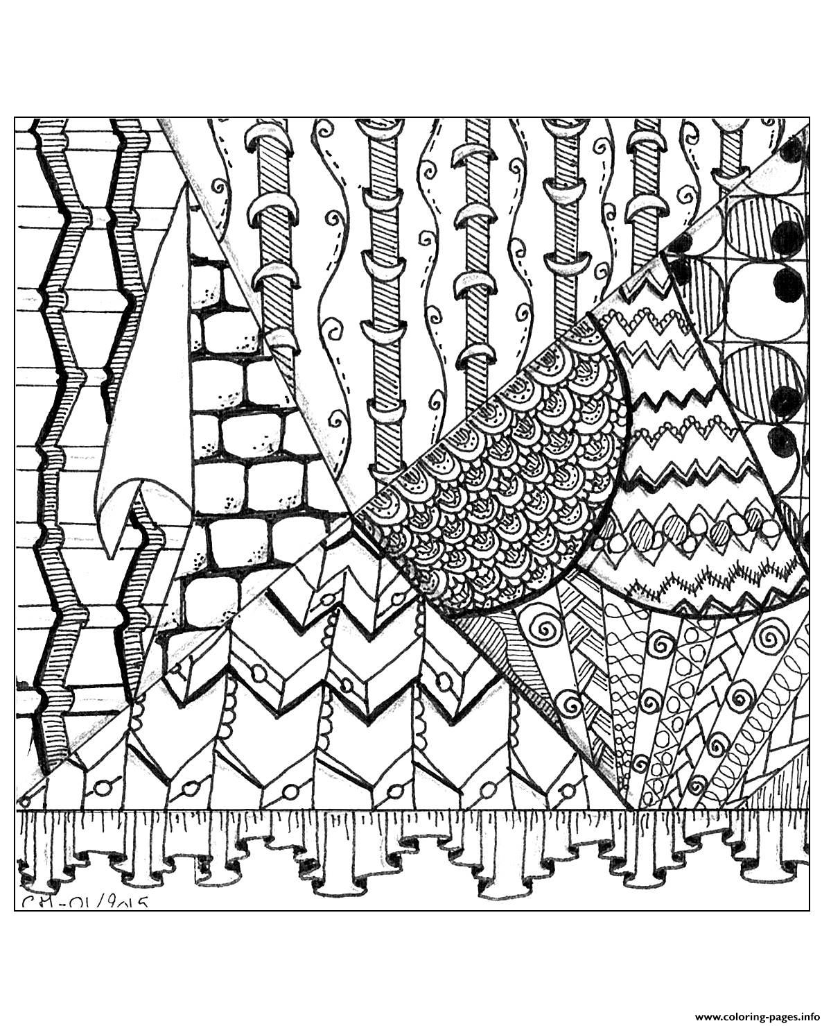 Adult Zentangle By Cathym 24 coloring pages