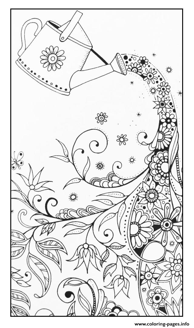 Adult Magical Watering Can coloring pages