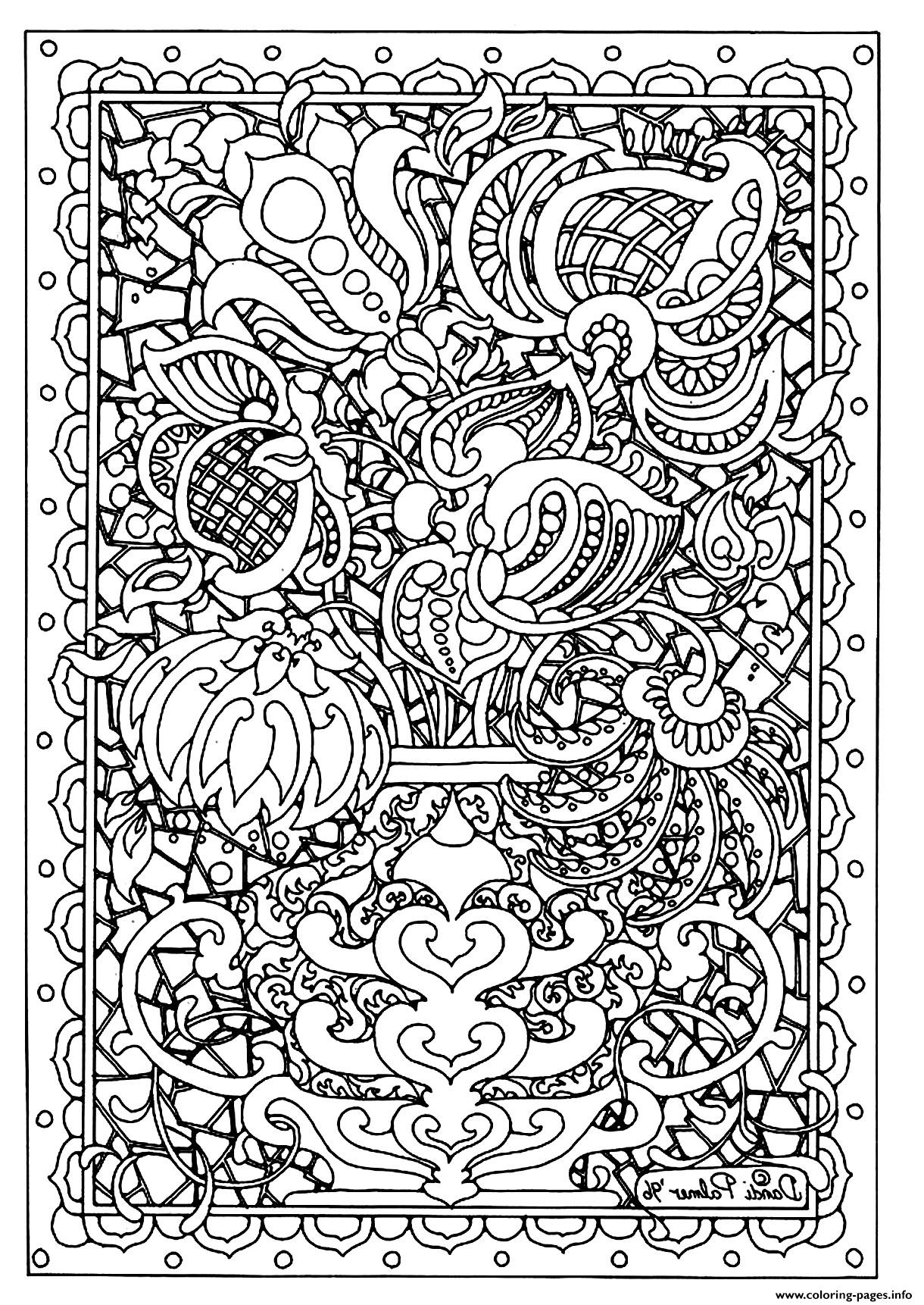 Adult flower difficult coloring pages printable for Coloring pages for adults difficult flower