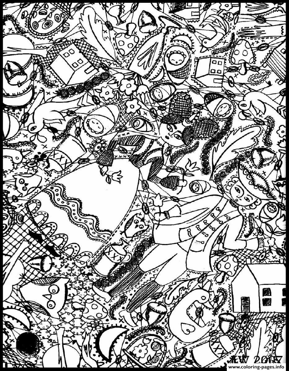 Adult Doodle Art Doodling 4 coloring pages