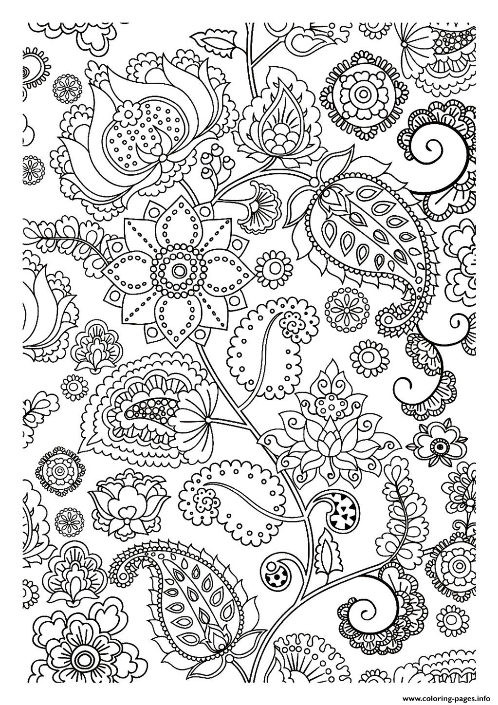 Adult flowers zen coloring pages printable - Dessin vegetation ...