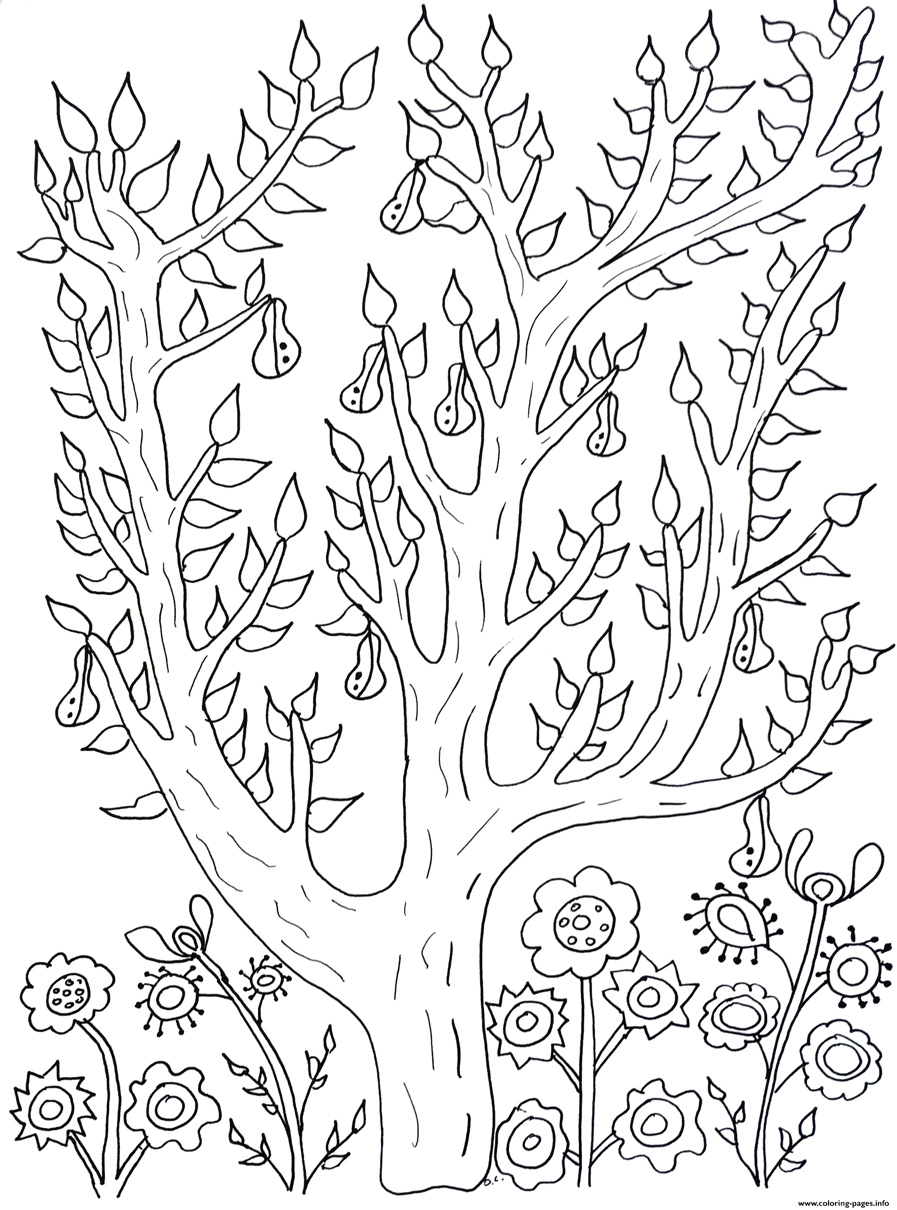 Adult Cute Tree With Leaves And Pears Olivier coloring pages