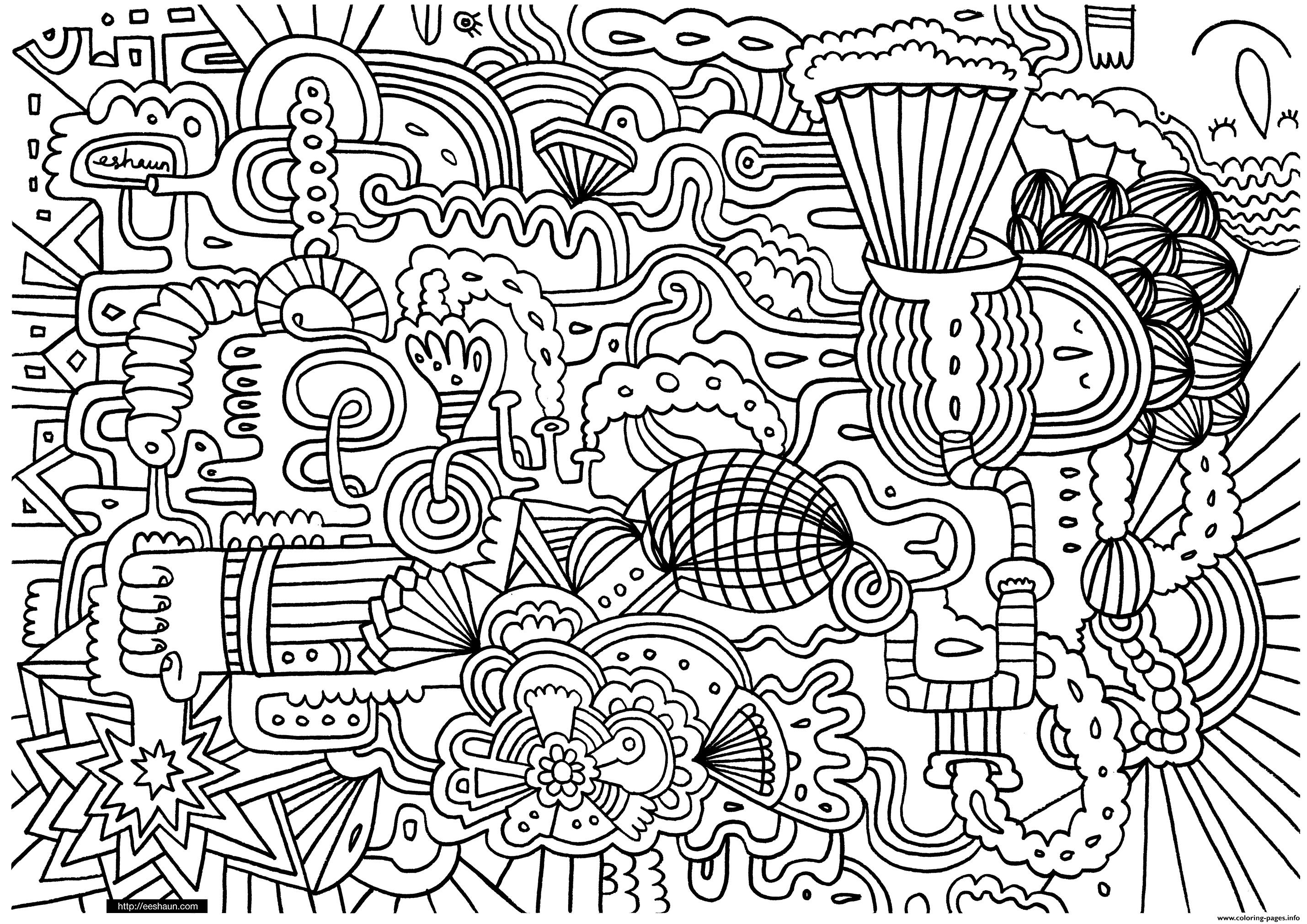 Adult Doodle Art Doodling 1 Coloring Pages Printable