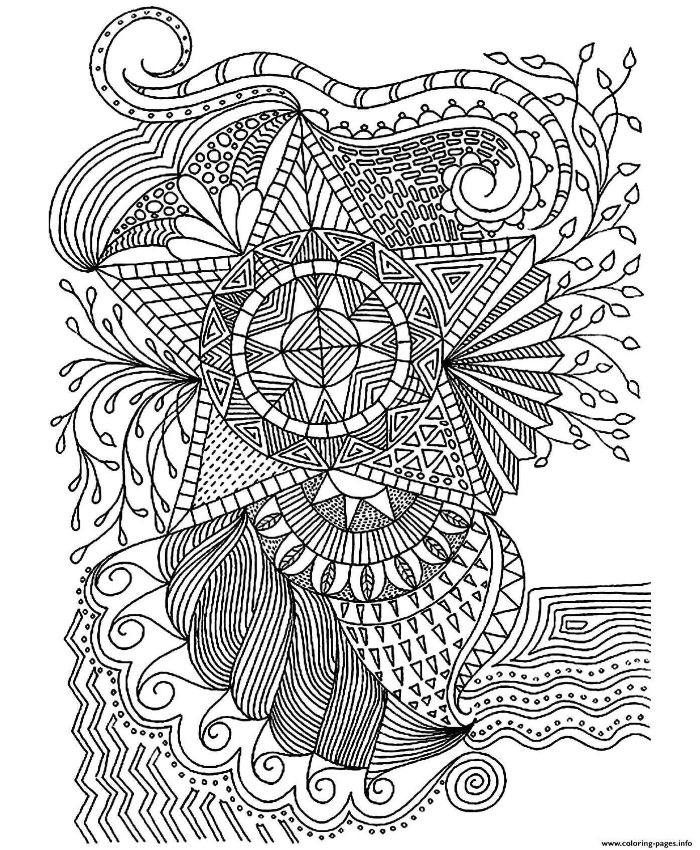 Adult Flowers Stars Coloring Pages Printable