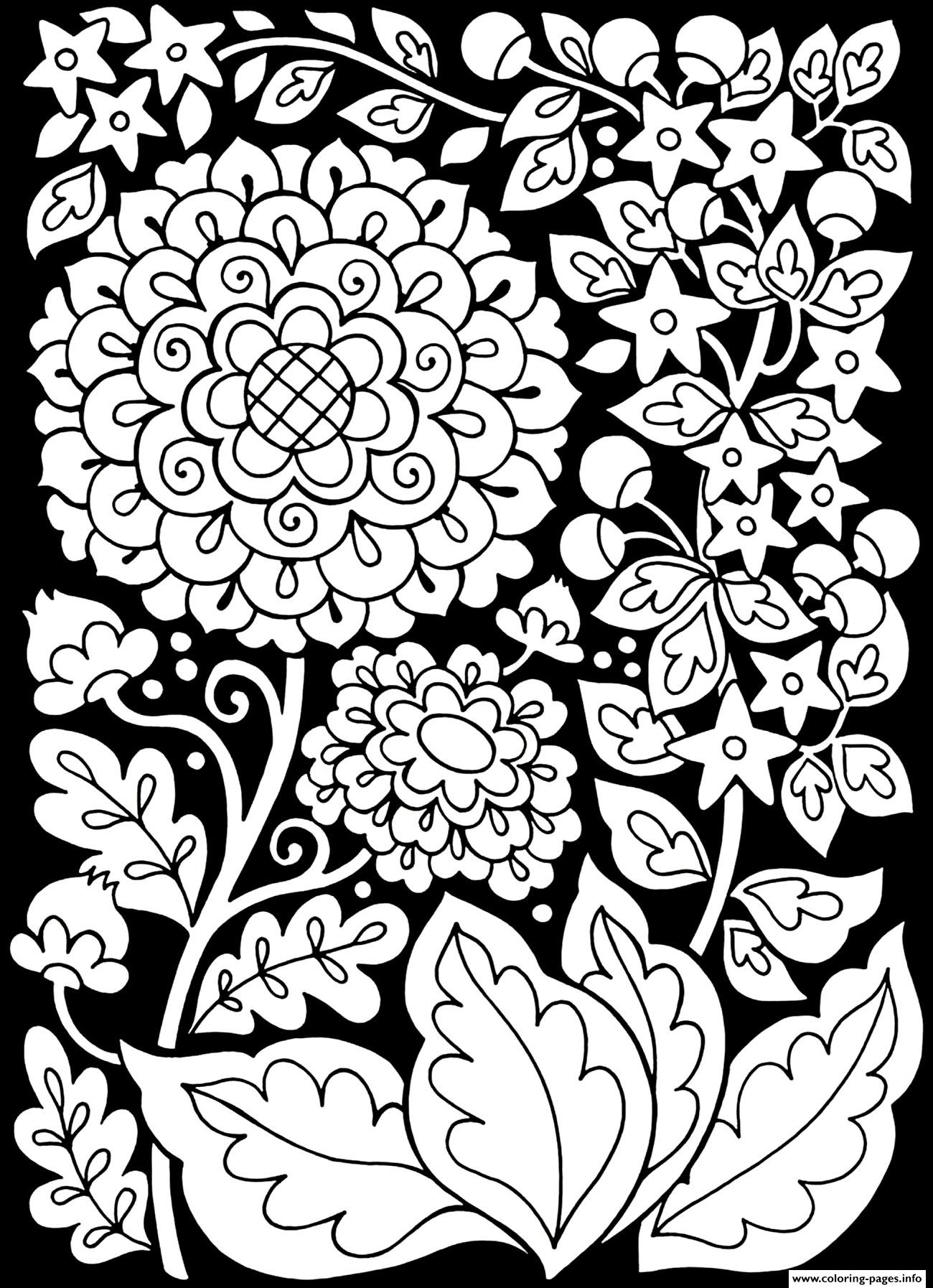 Adult Flowers Black Background coloring pages