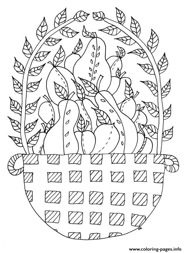 Adult Fruit Basket Coloring Pages Printable