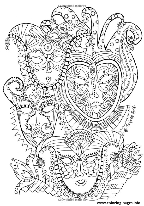 Adult Zen Anti Stress Mask Carnival Coloring Pages Printable