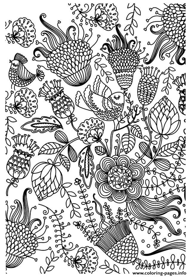 Adult Zen Anti Stress Antistress Birds  coloring pages