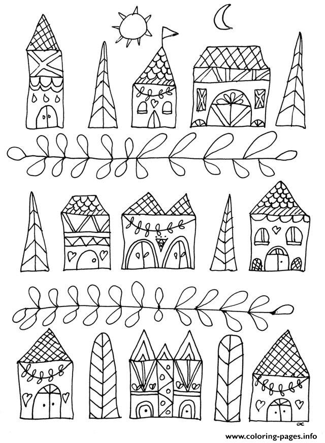 Printable Coloring Pages Zen : Adult zen anti stress simple houses coloring pages printable