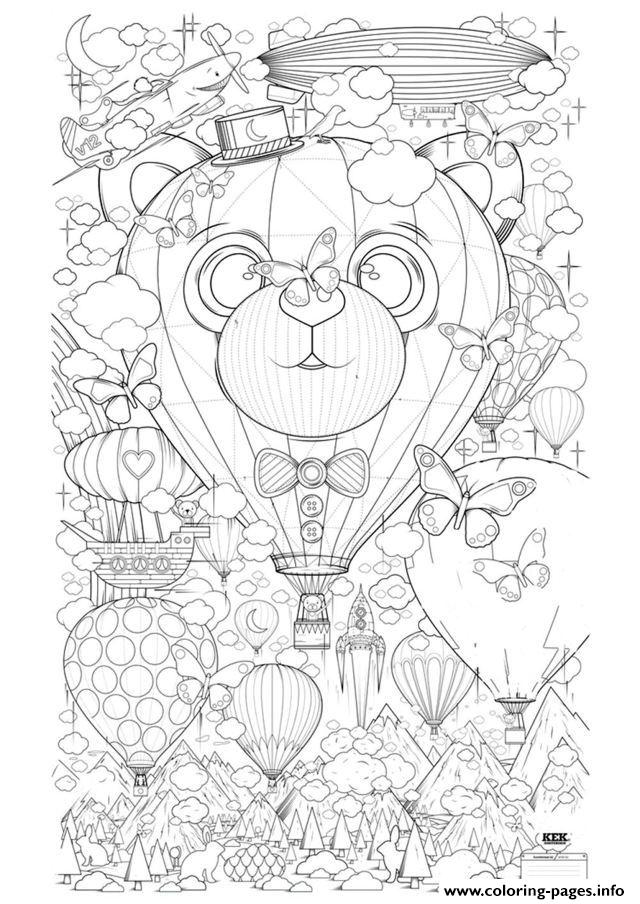 Zen Anti Stress Adult Hot Air Balloon Zen Anti Stress To Print  coloring pages