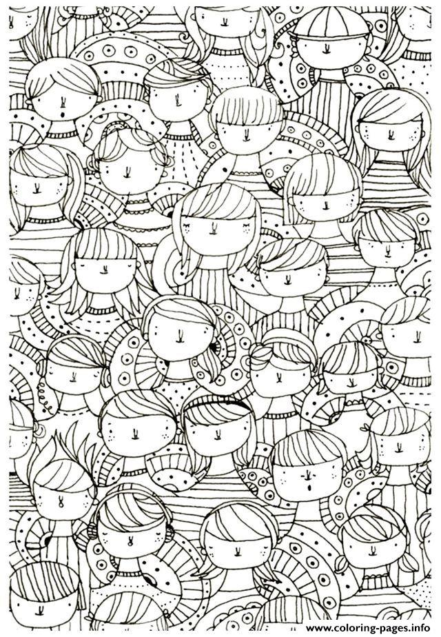 Zen Anti Stress Adult Faces Zen Anti Stress To Print  coloring pages