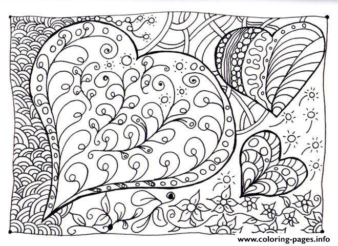 Adult Zen Anti Stress Heart Zen Coloring Pages Printable
