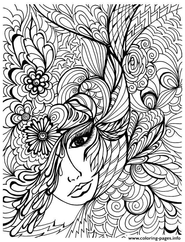Adult Zen Anti Stress Face Vegetation Coloring Pages Printable